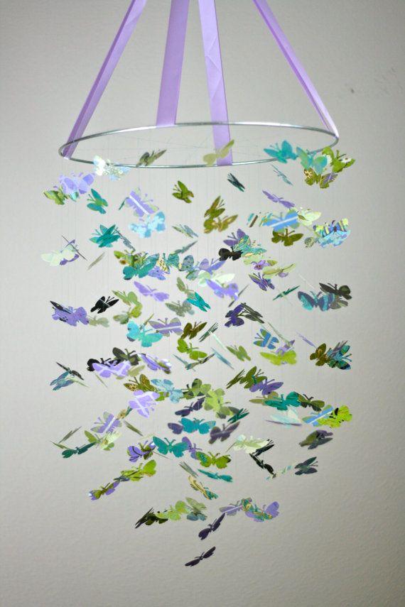 Purple Garden Butterfly Mobile by littledreamersinc #Mobile #Butterflies #littledreamersinc