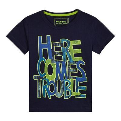 bluezoo Boys' navy 'Here comes trouble' T-shirt | Debenhams