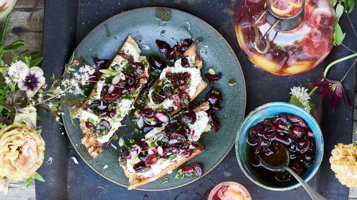 The perfect appetizer for a grill-out. Charred Bread with Cherry Salsa and Ricotta