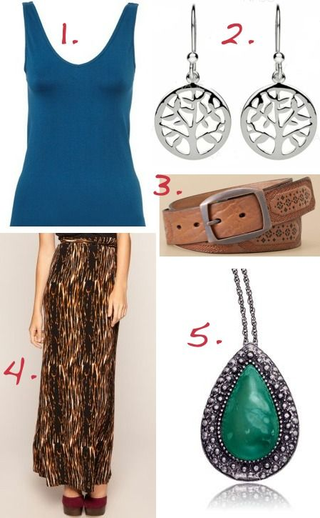 1. Basque tank at Myer $10 | 2. Najo earrings $49 | 3. Fossil belt $59 | 4. Samantha Wills necklace $120 | 5. Hussy skirt at The Iconic $134