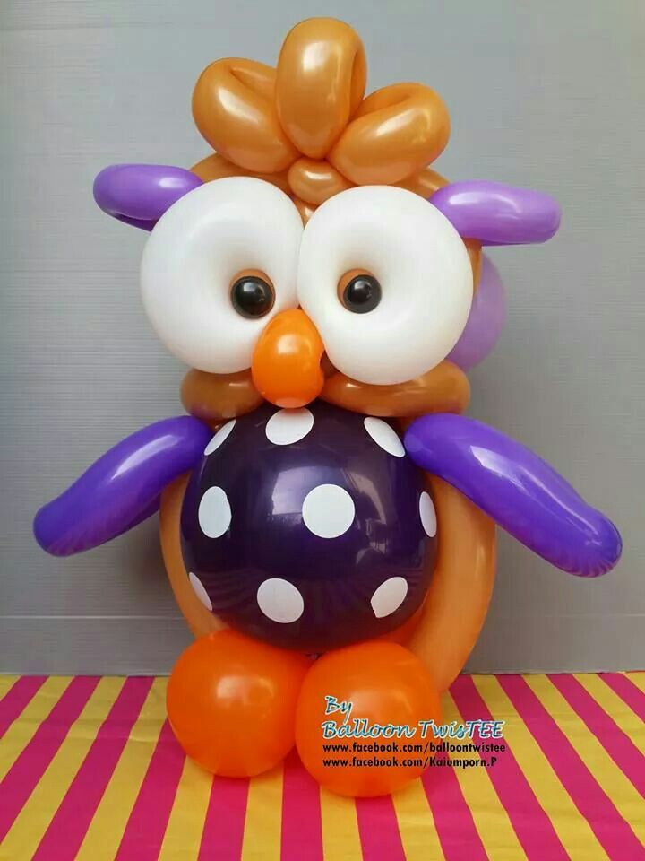Balloon owl decoracao com baloes pinterest