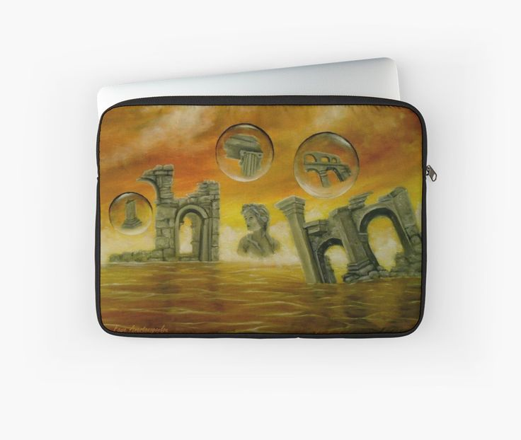 Laptop Sleeve,   ancient,ruins,temples,orange,colorful,impressive,fantasy,unique,cool,beautiful,trendy,artistic,unusual,accessories,design,items,products,for sale,redbubble