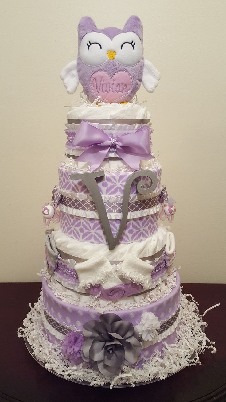 169 best simply showers images on pinterest lavender and grey owl diaper cake with matching centerpieces includes 2 receiving blankets 2 pacifiers 3 pair of socks 3 hairbows initial letter and baditri Gallery