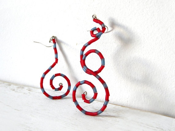 Red blue earrings navy stripes geometric spiral by BlackRedDots, $20.00