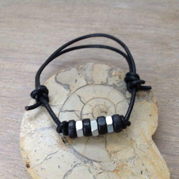 Leather and hex nut bracelet men's bracelet by QuirkyGirlWorkshop