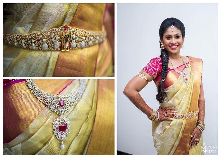 South Indian bride. Gold and diamond Indian bridal jewelry.Jhumkis.Cream silk kanchipuram sari with contrast pink blouse.braid with fresh jasmine flowers. Tamil bride. Telugu bride. Kannada bride. Hindu bride. Malayalee bride.Kerala bride.South Indian wedding.