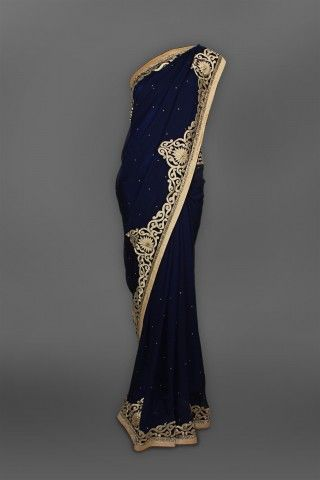 Navy Blue Georgette Sari