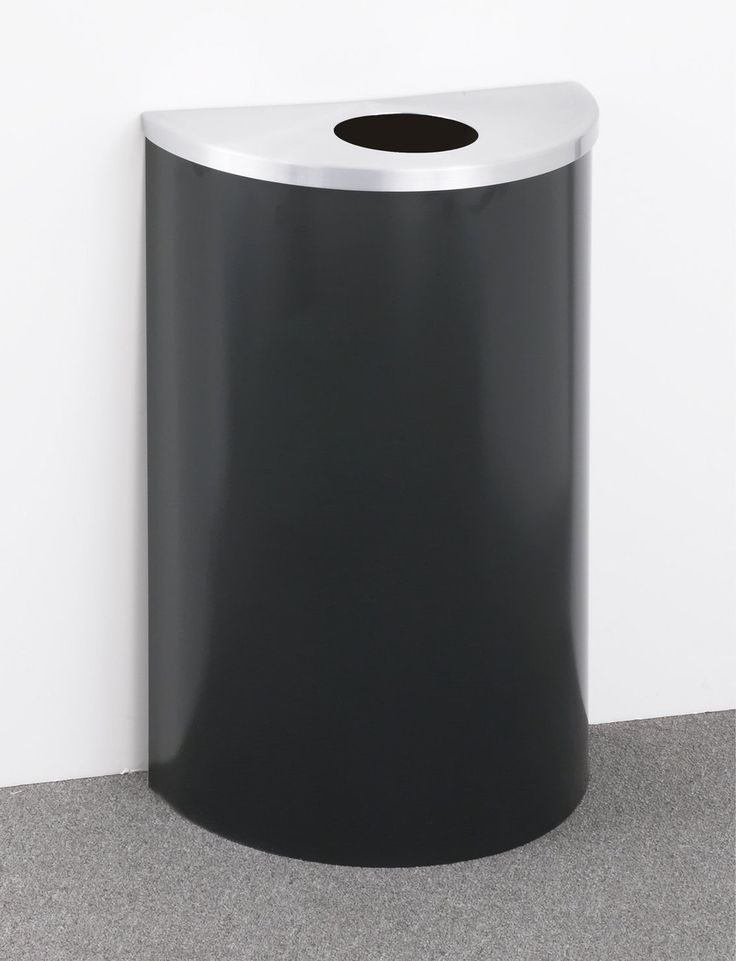 14 gallon half round trash can or recycle bin with plastic liner 29 colors - Commercial Trash Cans