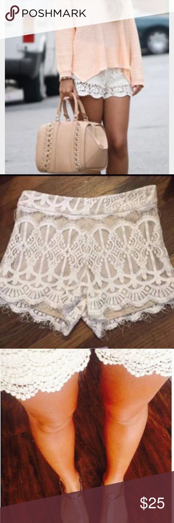 Lace shorts size small Cream lace shorts with nude underlay. Not see through at all, can be dressed up or down. Depending on your height/weight will determine length, I'm short 5'3 but big hips so they were too tight and short for my preference. So pretty and versatile. Zips up side..not elastic band, well made. Shorts