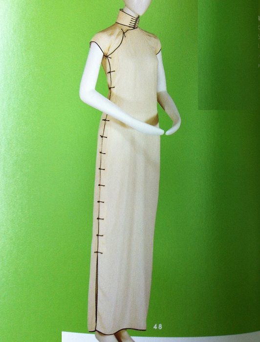1930s beige high-necked sleeveless dress