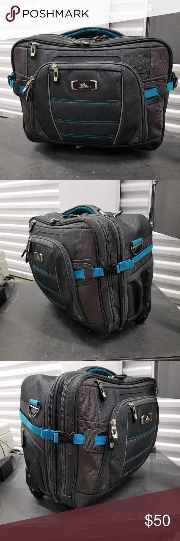 NWOT High Sierra Rolling Briefcase NWOT High Sierra Rolling Briefcase Travel Bag. Brand new, never used. Great professional looking briefcase, has wheels and telescoping handle. Will come with an over the shoulder strap. Stain on shoulder strap. Small mark on the back of the bag. Compression side straps, deluxe organizer, multiple large compartments. Check out my other listings for sale, I've got a ton. bundle and save!  *All earnings will go to the victims of hurricane Maria in PR* High…