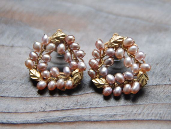 Soft pink pearl earrings. Gold Metal mix silver by bijouroom, $36.00