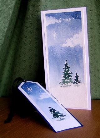 NOTE BOOKMARK...Christmas Cards - Green Lane Arts - original watercolour designs