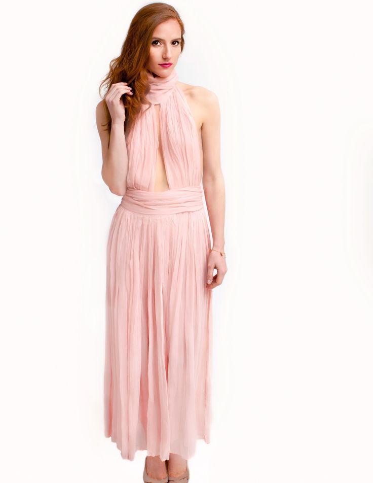 Peony pink silk dress w open back