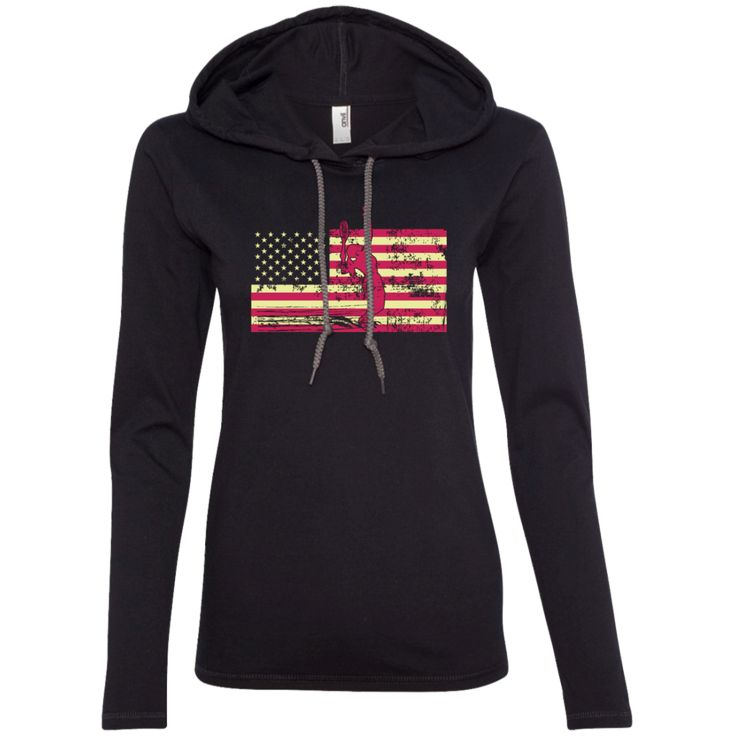 Female Tennis Player Silhouette On The American Flag Ladies LS T-Shirt Hoodie - The Gypsy Rock Shirt Co.