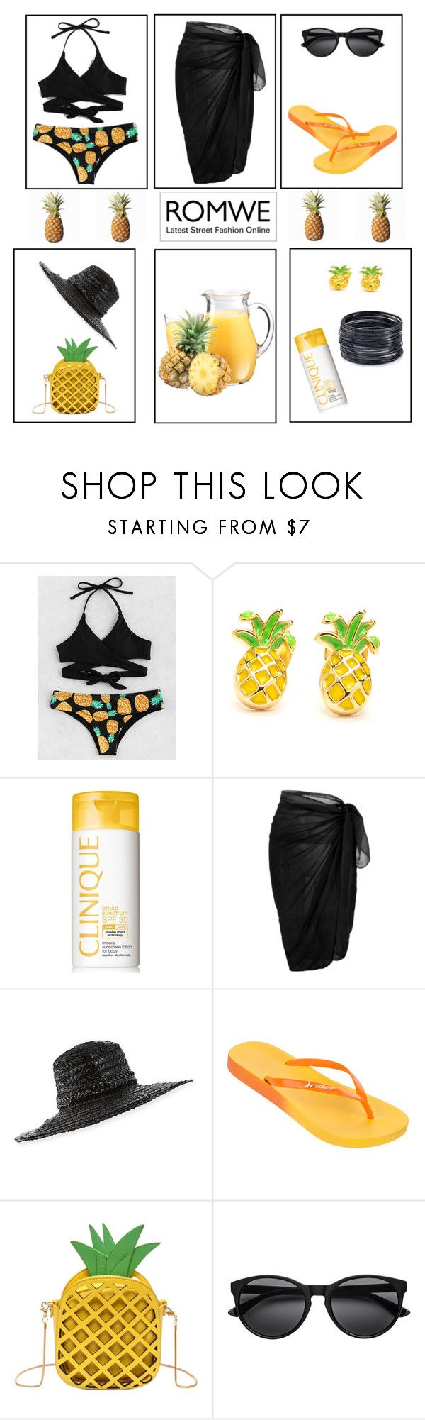"""pineapple print bikini-romwe"" by pam-doel ❤ liked on Polyvore featuring Clinique, Gigi Burris Millinery, Rider and ABS by Allen Schwartz"