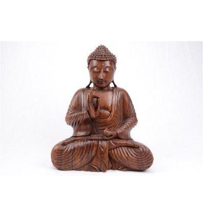 Statue De Bouddha En Bois H30cm Pour Decoration Zen Bouddhisme Bouddhiste