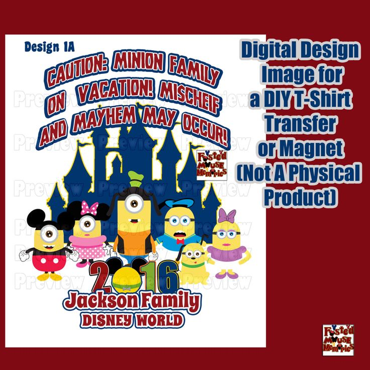 Digital Disney Themed Family Shirt Transfer Personalized T-Shirt Iron On Transfer  Matching Family Shirts DIY Minion Shirt DIY Disney Shirt by FrostedMouseMemories on Etsy