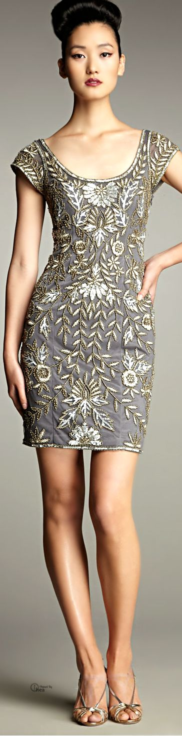 Sue Wong ● Embroidered Scoop-neck Cocktail Dress