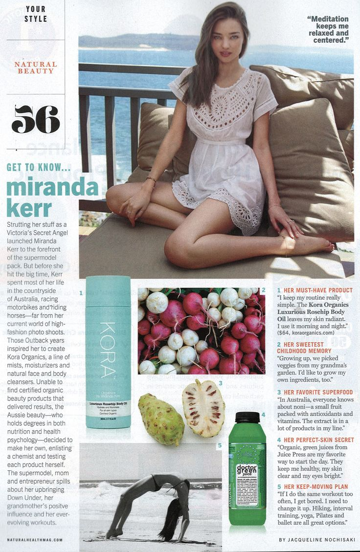 Miranda Kerr features our Luxurious Rosehip Body Oil as her must have product in the May issue of Natural Health Magazine! www.koraorganics.com xxx