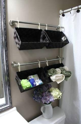 A Tisket. A Tasket. A Wall Full of Baskets - 30 Brilliant Bathroom Organization and Storage DIY Solutions