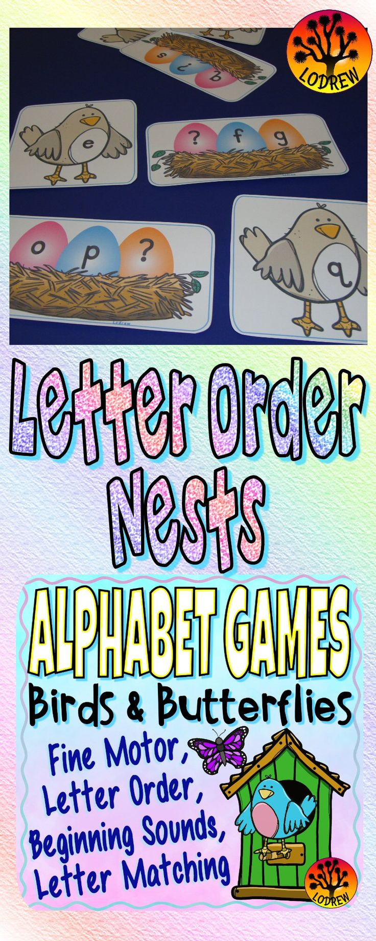 62 pages of birds and butterflies alphabet games. Activities include literacy, alphabet, letters, beginning sounds, letter order, letter matching, fine motor, word matching, visual discrimination, bundle, uppercase, lowercase, literacy centers, spring activities, insects, bugs, spring centers, butterfly games, etc. For kindergarten, preschool, SPED, child care, homeschool, or any early childhood setting.