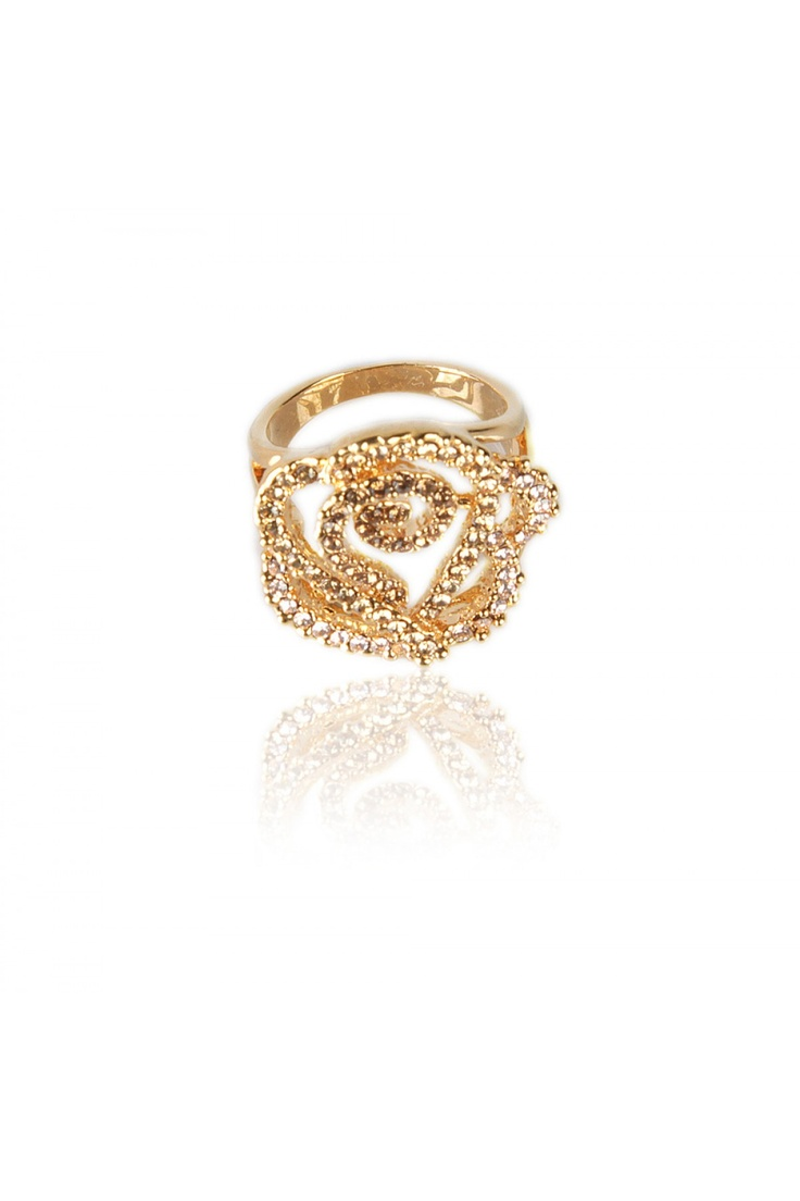 Cut Out Floral Cocktail Ring -  Flower Shaped Cut out Design, Neutral Colored Crystal Encrusted on the Petal Edge, Smooth Gold Finishing. - Rs. 599.00