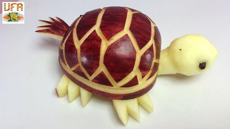 How to Make Purple Apple Tortoise - Fruit Carving Garnish - Food Art Dec...