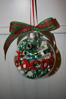 What a cute way to gift money this year!   WHAT YOU NEED: 5 $1 bills, rolled up, some curly ribbon, ribbon for top bow, letter stickers.  Scroll up money and put inside of glass ornament, stick in curly ribbon, tie bow to top of ornament, and stick letter stickers (to name it) on front. This is such a cool gift!!  Cute - but how do you get the $ out?