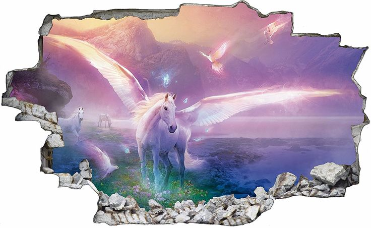 🦄 Unicorn   Einhorn Wandtattoo in 3D   Wanddurchbruch