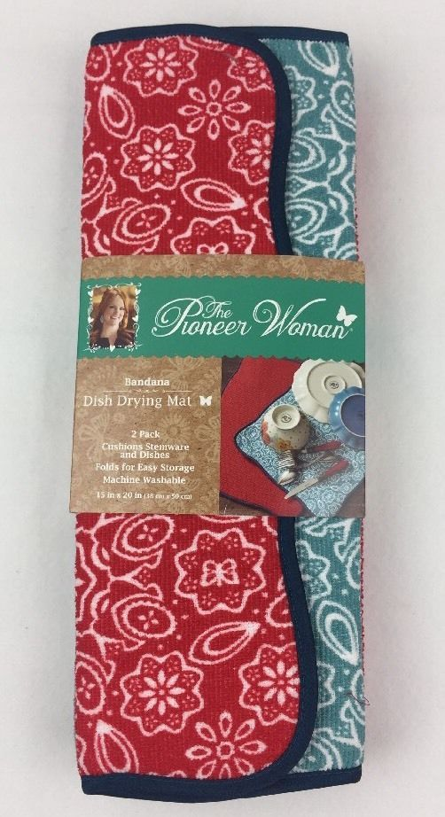 Pioneer Woman Bandana Dish Drying Mat 2 Pack NEW NIP Fast Free Shipping    eBay