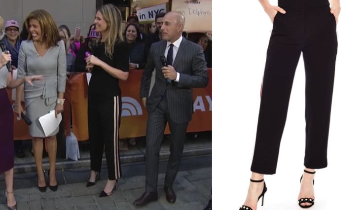 Side stripe! Get details on Savannah Guthrie's Black Pants with White + Red Contrast Stripe: https://www.bigblondehair.com/savannah-guthries-side-stripe-pants/ #TodayShow #Today Today Show