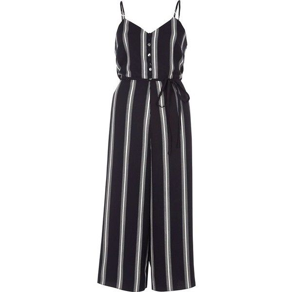 River Island Navy stripe print cami culotte jumpsuit ($96) ❤ liked on Polyvore featuring jumpsuits, jumpsuit, navy, rompers/ jumpsuits, women, cropped camis, v-neck camisoles, v neck cami, navy camisole and navy blue romper