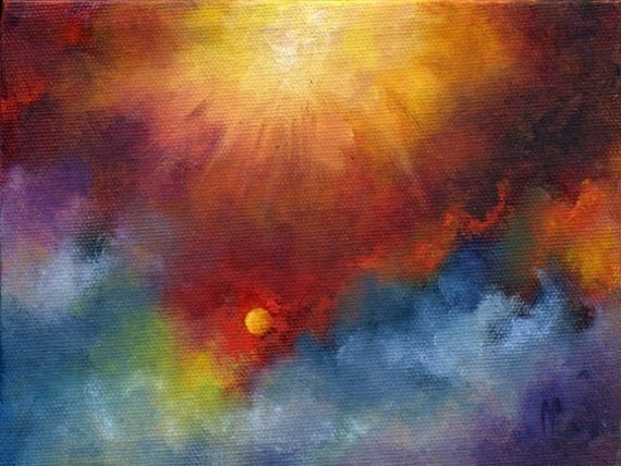 Night Sky Painting, Solar Rays, Abstract Skyscape Space by ...