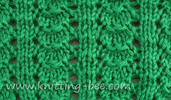Little Shells Knitting Pattern ~   Cast on multiples of7plus2 Row 1: Knit Row 2: Purl Row 3: k2 * yo , p1, p3tog, p1, yo, k2* Row 4: Purl  Four rows make up the pattern.