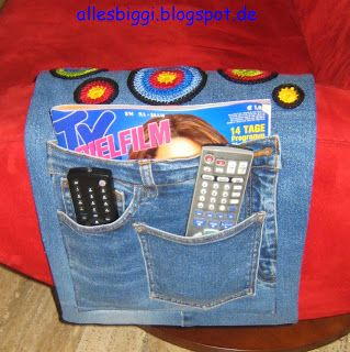 Fernbedienungs-Utensilo aus alter Jeans / Organize your remote controls in a system made from old jeans Upcycling