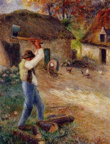 """Pere Melon Cutting Wood"", 1880 ~ Camille Pissarro"