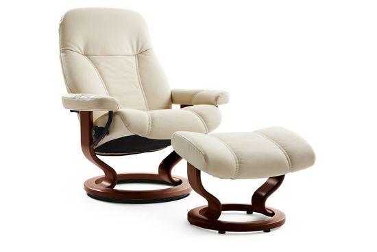 Stressless Consul Medium Batick Cream Chair and Ottoman