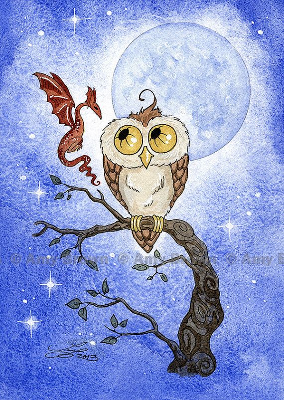 Owl And Dragon Limited Edition Print By Amy Brown By