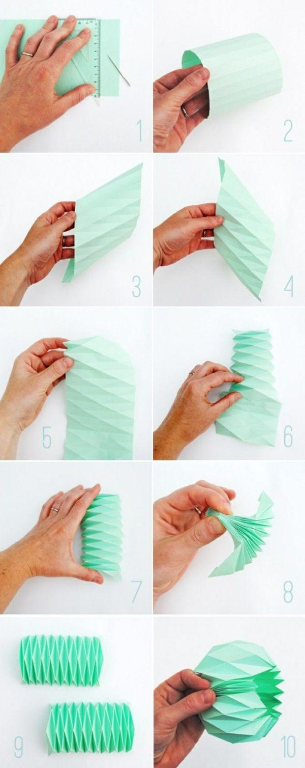 origami lampenschirm anleitung papier falten minzgrün pastelltöne
