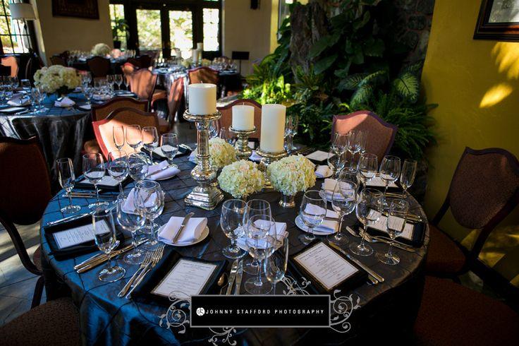 Addyrosedesign.com | Yosemite Wedding | Johnnystaffordphotography.com | Ahwahnee Hotel | Mercury glass candle holders | Hydrangea Centerpiece | Slate grey pintuck linens