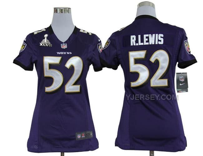 Ray Lewis Ravens Purple jersey: Purple Ray Lewis Baltimore Ravens 52 Elite  With Art Patch Nike women jersey