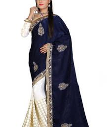 Buy blue and white embroidered  chiffon saree with blouse wedding-saree online
