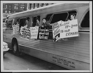 FREEDOM RIDERS, the first Freedom Bus left Washington D.C. on May 4, 1961.  The purpose was to defy the Jim Crow Laws that were in place in the south.