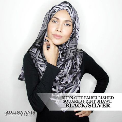 Burn Out Embellished Squares Print Shawl - Black/Silver  $48.50 SGD  Material: Satin weave   Length: 200cm  Width: 66.5cm  Fabric Care: Dryclean or Hand wash only and do not wring.   Iron only on the wrong side, on medium setting.  You'll find only the best hijabs / tudungs / scarves that are shipped worldwide.  Click through to the website to find out more.
