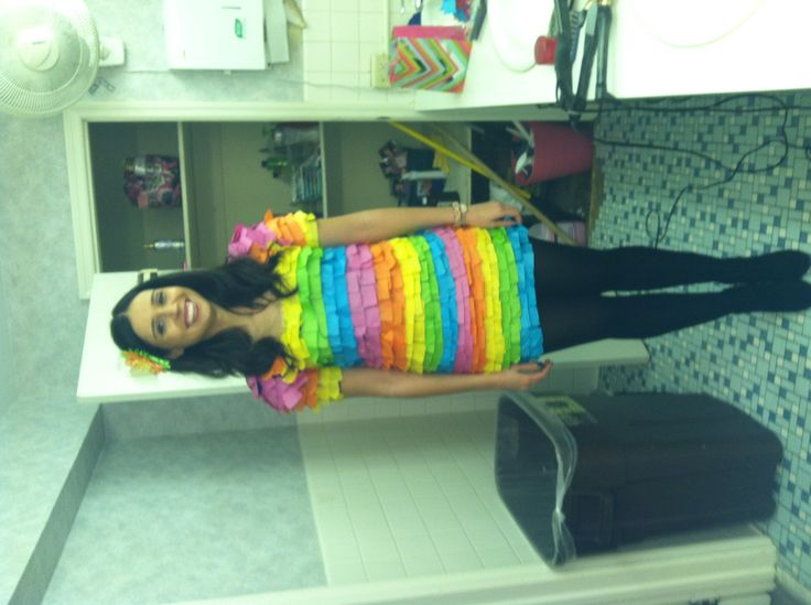 diy piata halloween costume used a cheap dress from forever 21 and glued party streamers - Halloween Party Store