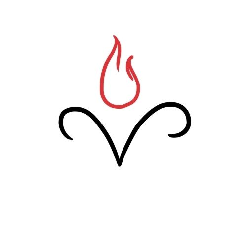 Aries tattoo with fire sign - make the ram more narrow and with a line for the face
