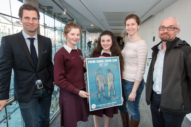 Secondary school, 2nd place: Aimee Cope and Claudia Lonergan, 2nd year, Loreto St Michael's, Navan, Co. Meath with judges Jonathan McCrea, Jessamyn Fairfield and Prof. Ed Lavelle
