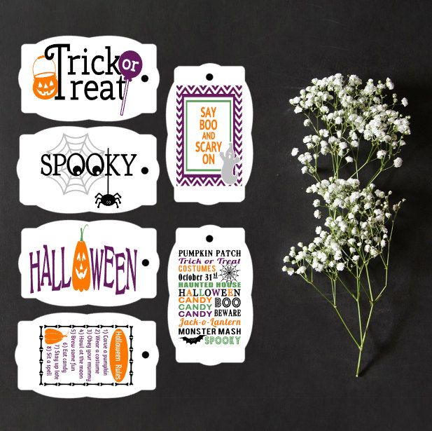 6 Assorted Halloween Tags, Halloween Gift Tags, Halloween Party, Scary…