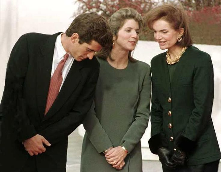 Mrs~~~Jackie Kennedy Onassis and her children John F. Kennedy Jr. and Caroline Kennedy attend the opening of the JFK Library in Boston on October 29, 1993 ♡✿♡✿♡✿.❀♡✿♡❁♡✾♡✽♡ http://www.jfklibrary.org/